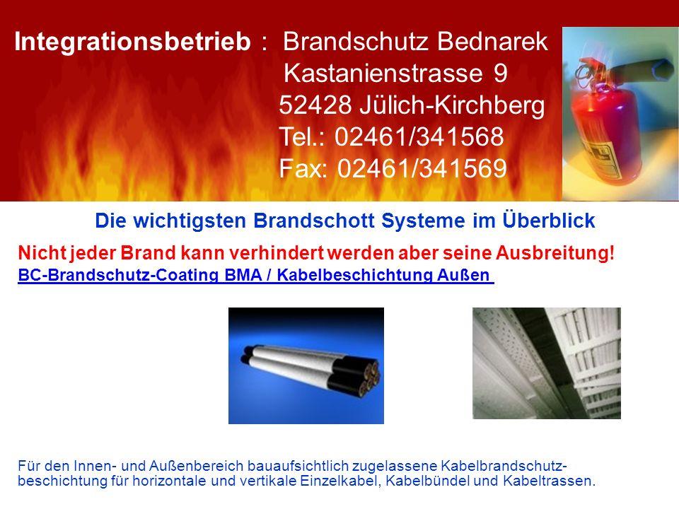 Die wichtigsten Brandschott Systeme im Überblick Nicht jeder Brand kann verhindert werden aber seine Ausbreitung! BC-Brandschutz-Coating BMA / Kabelbe
