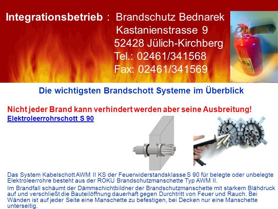 Die wichtigsten Brandschott Systeme im Überblick Nicht jeder Brand kann verhindert werden aber seine Ausbreitung! Elektroleerrohrschott S 90 Das Syste