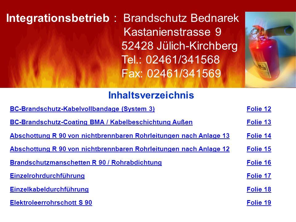 Inhaltsverzeichnis BC-Brandschutz-Kabelvollbandage (System 3)Folie 12 BC-Brandschutz-Coating BMA / Kabelbeschichtung AußenBC-Brandschutz-Coating BMA /