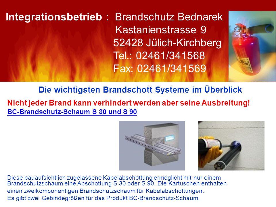 Die wichtigsten Brandschott Systeme im Überblick Nicht jeder Brand kann verhindert werden aber seine Ausbreitung! BC-Brandschutz-Schaum S 30 und S 90