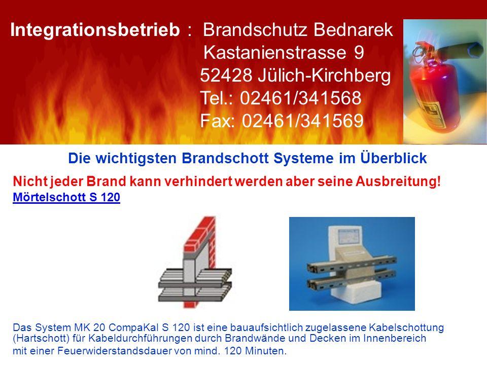 Die wichtigsten Brandschott Systeme im Überblick Nicht jeder Brand kann verhindert werden aber seine Ausbreitung! Mörtelschott S 120 Das System MK 20
