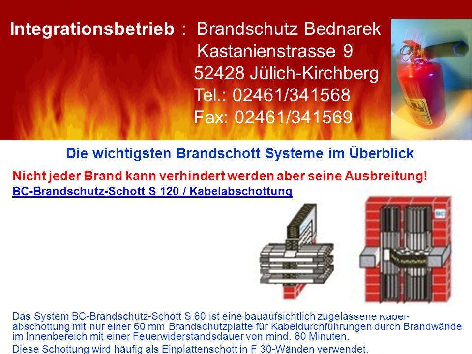 Die wichtigsten Brandschott Systeme im Überblick Nicht jeder Brand kann verhindert werden aber seine Ausbreitung! BC-Brandschutz-Schott S 120 / Kabela
