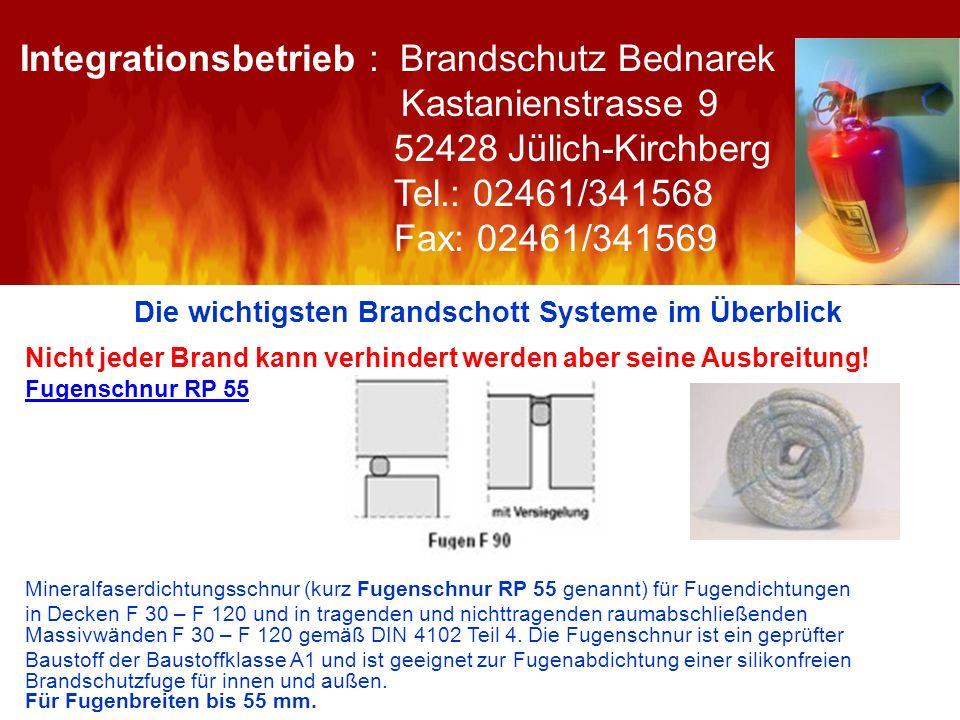 Die wichtigsten Brandschott Systeme im Überblick Nicht jeder Brand kann verhindert werden aber seine Ausbreitung! Fugenschnur RP 55 Mineralfaserdichtu