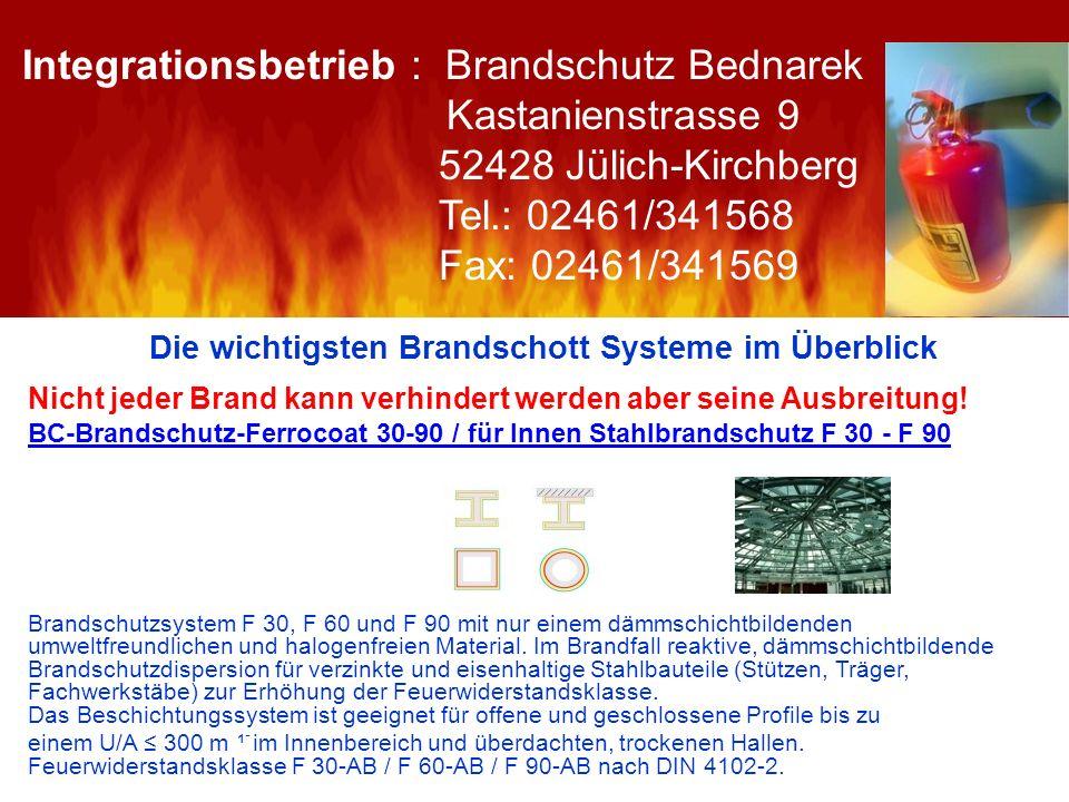 Die wichtigsten Brandschott Systeme im Überblick Nicht jeder Brand kann verhindert werden aber seine Ausbreitung! BC-Brandschutz-Ferrocoat 30-90 / für