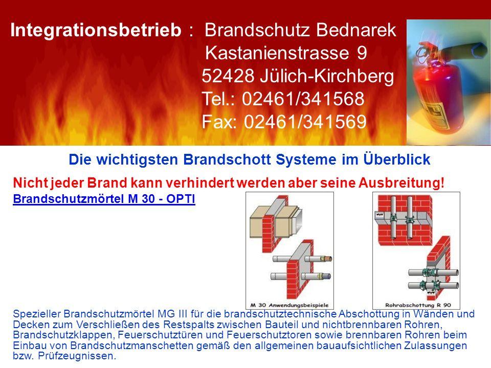 Die wichtigsten Brandschott Systeme im Überblick Nicht jeder Brand kann verhindert werden aber seine Ausbreitung! Brandschutzmörtel M 30 - OPTI Spezie