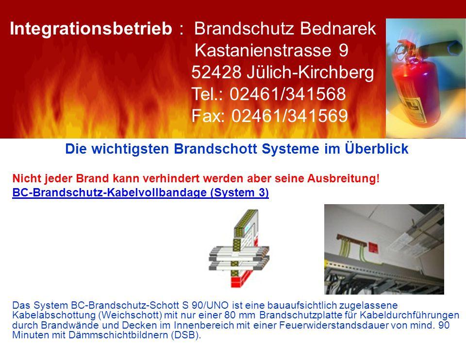 Die wichtigsten Brandschott Systeme im Überblick Nicht jeder Brand kann verhindert werden aber seine Ausbreitung! BC-Brandschutz-Kabelvollbandage (Sys
