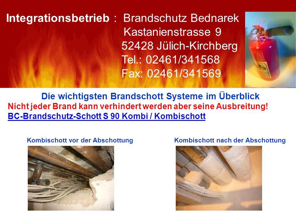 Die wichtigsten Brandschott Systeme im Überblick Nicht jeder Brand kann verhindert werden aber seine Ausbreitung! BC-Brandschutz-Schott S 90 Kombi / K