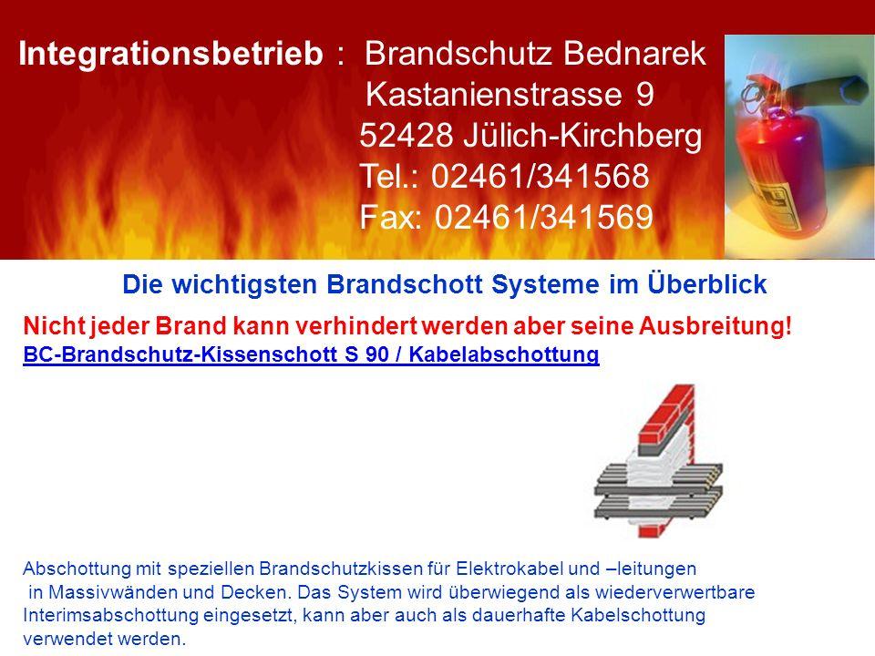 Die wichtigsten Brandschott Systeme im Überblick Nicht jeder Brand kann verhindert werden aber seine Ausbreitung! BC-Brandschutz-Kissenschott S 90 / K