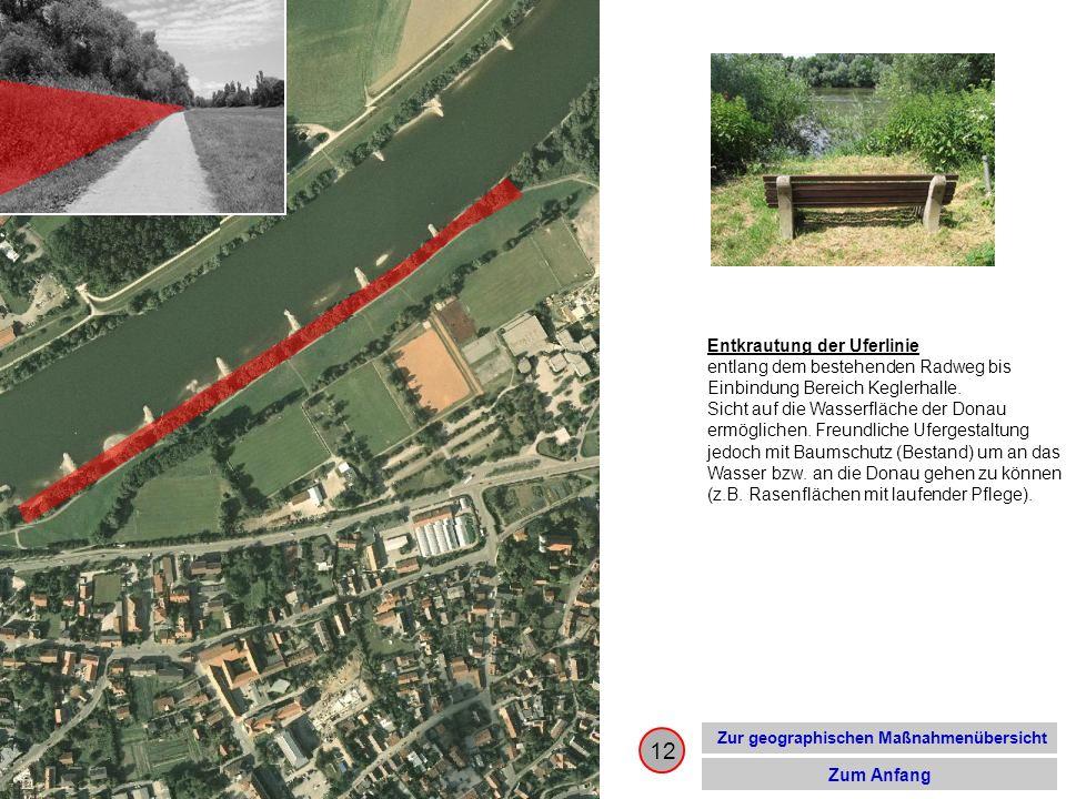 12 Zur geographischen Maßnahmenübersicht Zum Anfang Entkrautung der Uferlinie entlang dem bestehenden Radweg bis Einbindung Bereich Keglerhalle. Sicht