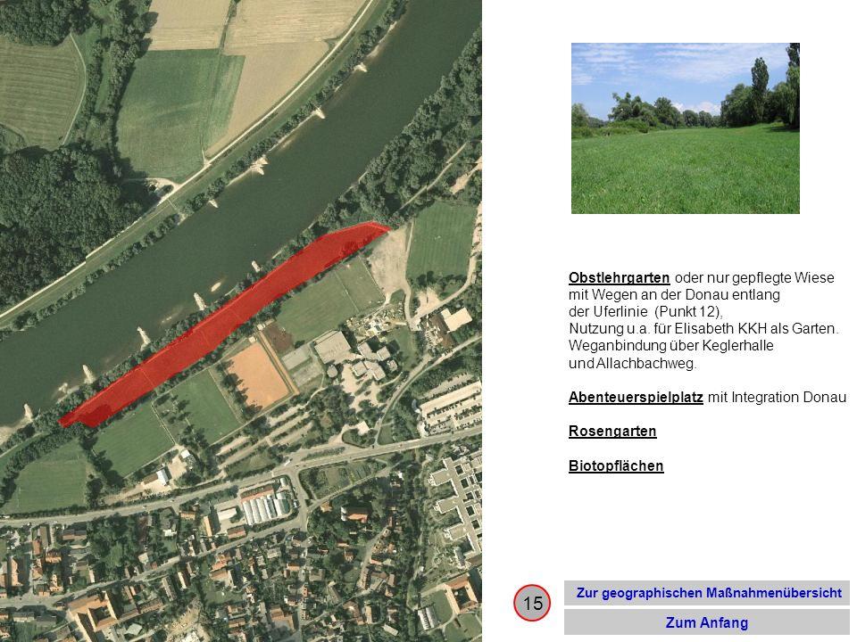 15 Zur geographischen Maßnahmenübersicht Zum Anfang Obstlehrgarten oder nur gepflegte Wiese mit Wegen an der Donau entlang der Uferlinie (Punkt 12), N