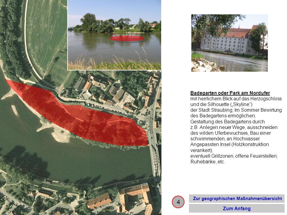 15 Zur geographischen Maßnahmenübersicht Zum Anfang Obstlehrgarten oder nur gepflegte Wiese mit Wegen an der Donau entlang der Uferlinie (Punkt 12), Nutzung u.a.