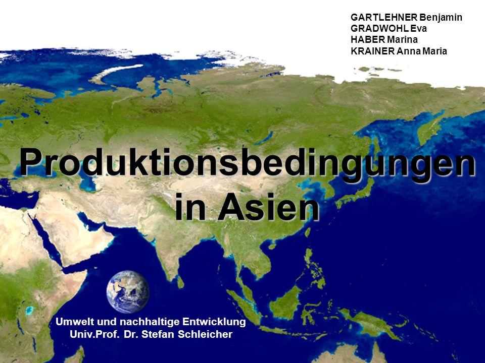 Produktionsbedingungen in Asien Umwelt und nachhaltige Entwicklung Univ.Prof. Dr. Stefan Schleicher GARTLEHNER Benjamin GRADWOHL Eva HABER Marina KRAI