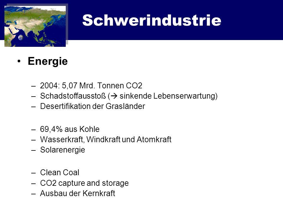 Schwerindustrie Energie –2004: 5,07 Mrd. Tonnen CO2 –Schadstoffausstoß ( sinkende Lebenserwartung) –Desertifikation der Grasländer –69,4% aus Kohle –W