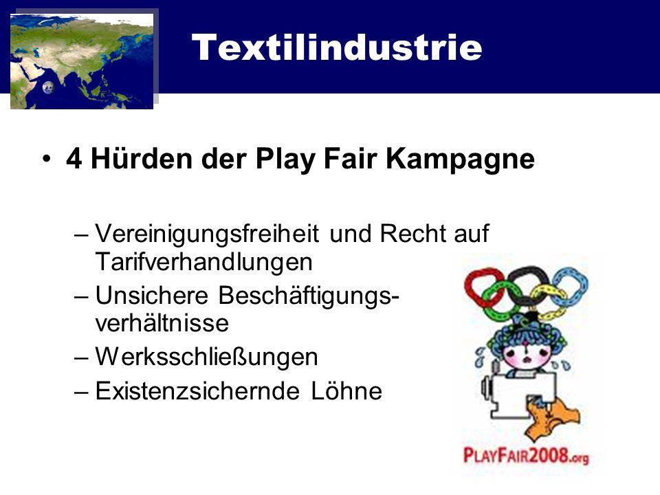 Textilindustrie 4 Hürden der Play Fair Kampagne –Vereinigungsfreiheit und Recht auf Tarifverhandlungen –Unsichere Beschäftigungs- verhältnisse –Werkss