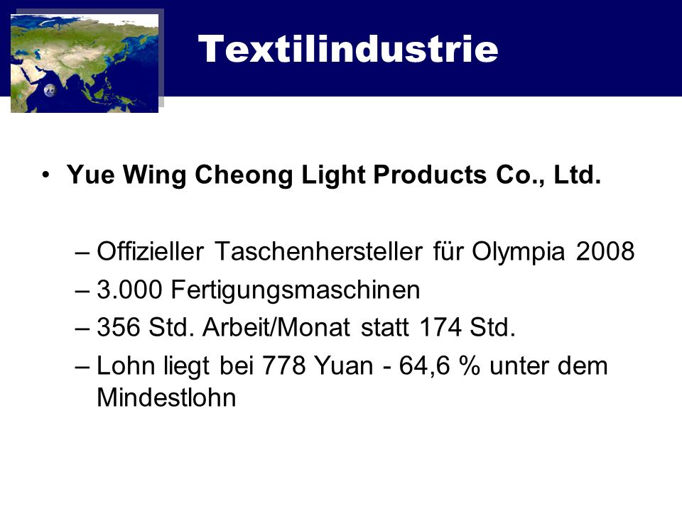 Textilindustrie Yue Wing Cheong Light Products Co., Ltd.