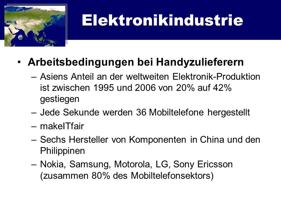 Elektronikindustrie Arbeitsbedingungen bei Handyzulieferern –Asiens Anteil an der weltweiten Elektronik-Produktion ist zwischen 1995 und 2006 von 20%