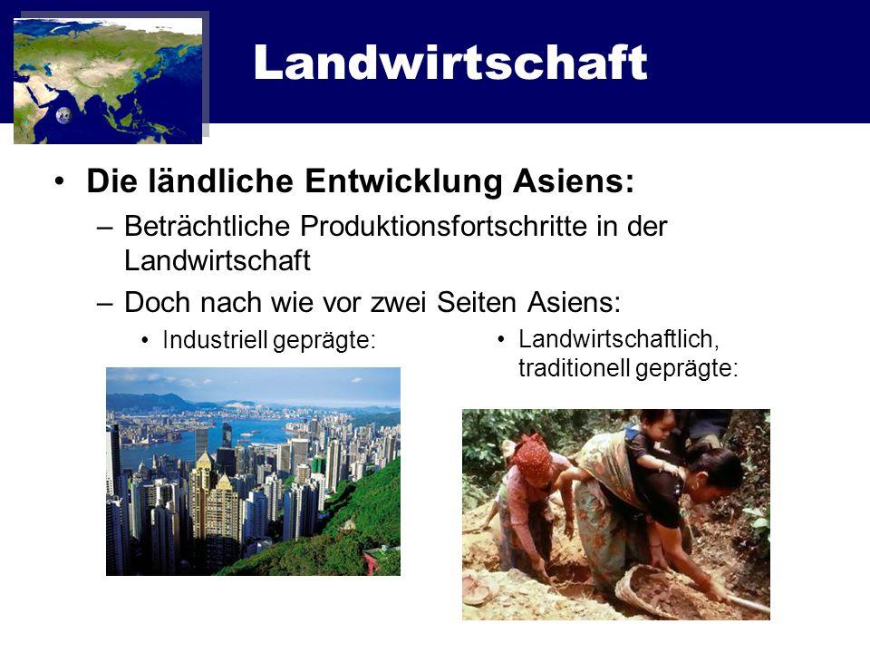 Landwirtschaft Die ländliche Entwicklung Asiens: –Bedeutung der traditionellen Landwirtschaft nimmt ab –Entwicklungsparität zwischen den Ländern –Verknappung, Degradierung und Zerstörung natürlicher Ressourcen –Maßnahmen sind notwendig!.