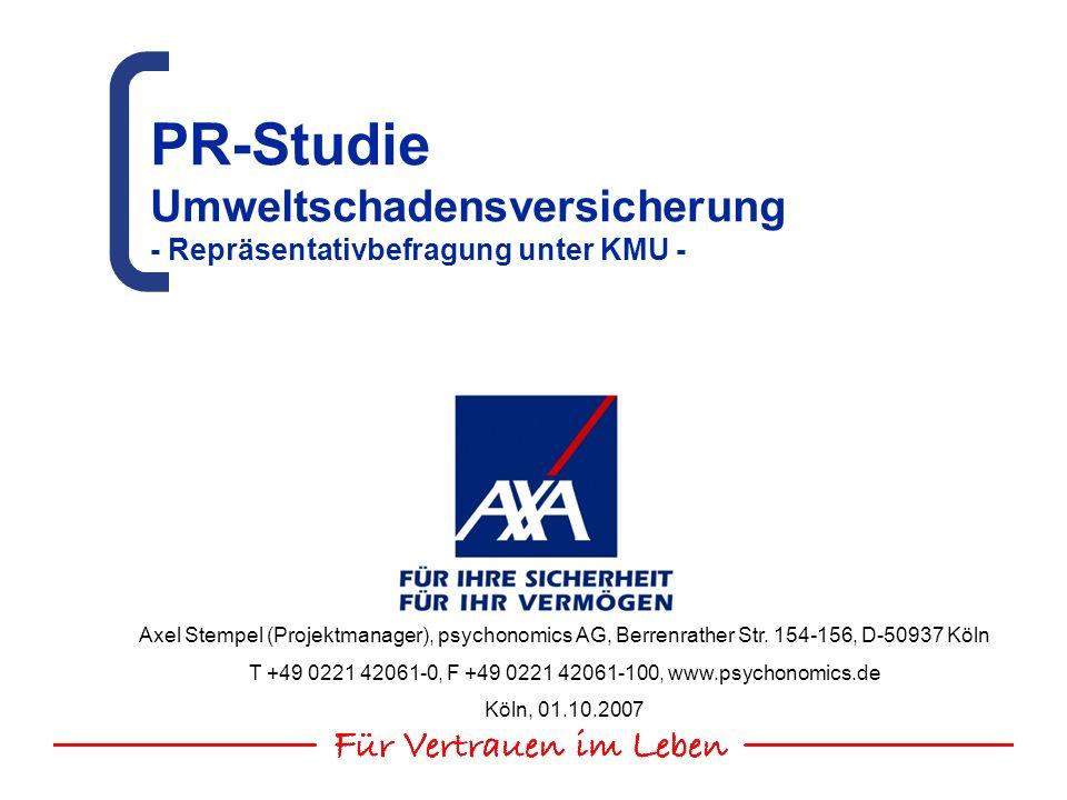 AXA Konzern AG Studie zur Umweltschadensversicherung und zum AGG 01.10.2007 22 Insgesamt betrachtet haben sich bisher nur knapp 20% der Unternehmen mit über 50 Mitarbeitern zumindest oberflächlich mit dem Umweltschadensgesetz auseinandergesetzt.
