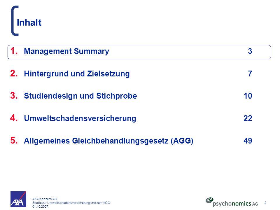 AXA Konzern AG Studie zur Umweltschadensversicherung und zum AGG 01.10.2007 2 Inhalt 1. Management Summary3 2. Hintergrund und Zielsetzung7 3. Studien
