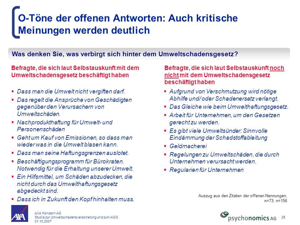 AXA Konzern AG Studie zur Umweltschadensversicherung und zum AGG 01.10.2007 25 O-Töne der offenen Antworten: Auch kritische Meinungen werden deutlich