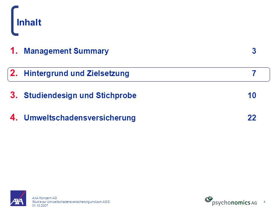 AXA Konzern AG Studie zur Umweltschadensversicherung und zum AGG 01.10.2007 4 Inhalt 1. Management Summary3 2. Hintergrund und Zielsetzung7 3. Studien
