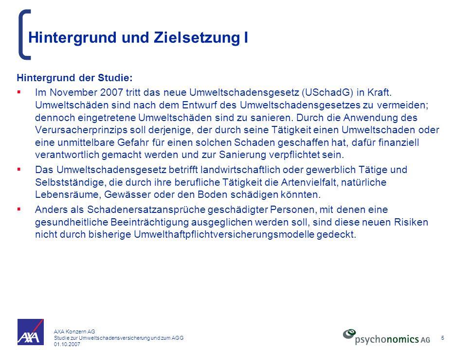 AXA Konzern AG Studie zur Umweltschadensversicherung und zum AGG 01.10.2007 5 Hintergrund und Zielsetzung I Hintergrund der Studie: Im November 2007 t