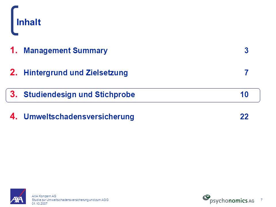 AXA Konzern AG Studie zur Umweltschadensversicherung und zum AGG 01.10.2007 7 Inhalt 1. Management Summary3 2. Hintergrund und Zielsetzung7 3. Studien