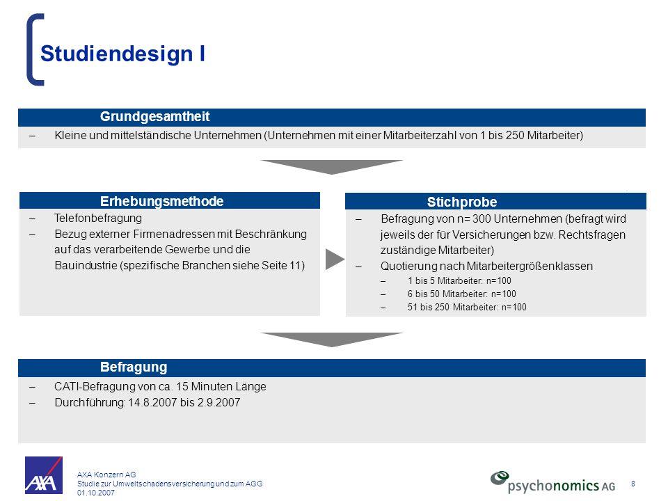 AXA Konzern AG Studie zur Umweltschadensversicherung und zum AGG 01.10.2007 8 –Telefonbefragung –Bezug externer Firmenadressen mit Beschränkung auf da