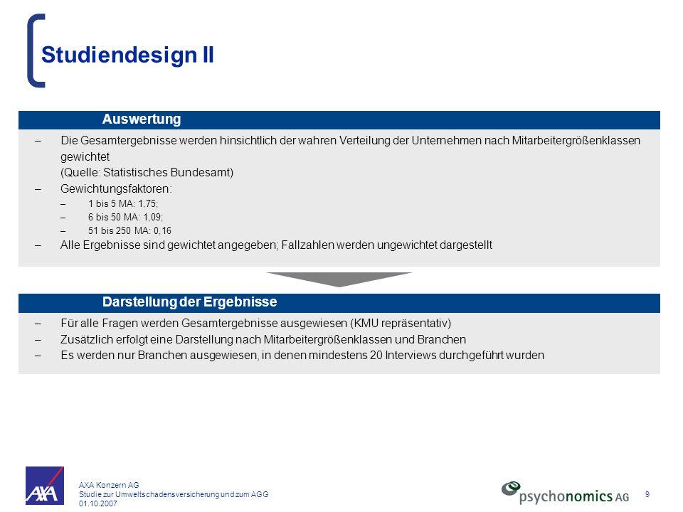 AXA Konzern AG Studie zur Umweltschadensversicherung und zum AGG 01.10.2007 9 Studiendesign II –Die Gesamtergebnisse werden hinsichtlich der wahren Ve
