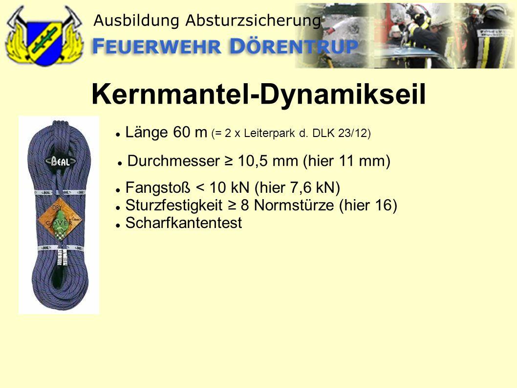 Kernmantel-Dynamikseil Länge 60 m (= 2 x Leiterpark d. DLK 23/12) Fangstoß < 10 kN (hier 7,6 kN) Sturzfestigkeit 8 Normstürze (hier 16) Scharfkantente