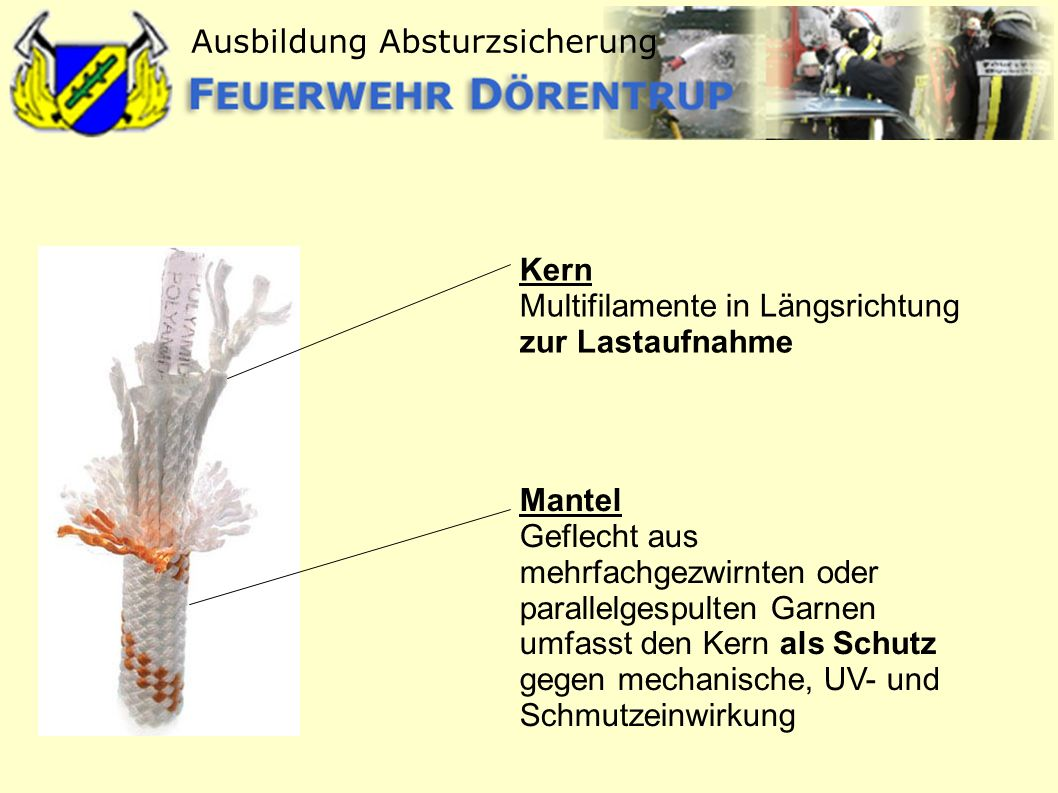 Ausbildung Absturzsicherung Kern Multifilamente in Längsrichtung zur Lastaufnahme Mantel Geflecht aus mehrfachgezwirnten oder parallelgespulten Garnen