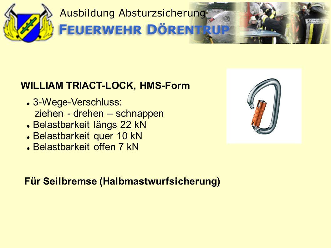 Ausbildung Absturzsicherung WILLIAM TRIACT-LOCK, HMS-Form 3-Wege-Verschluss: ziehen - drehen – schnappen Belastbarkeit längs 22 kN Belastbarkeit quer
