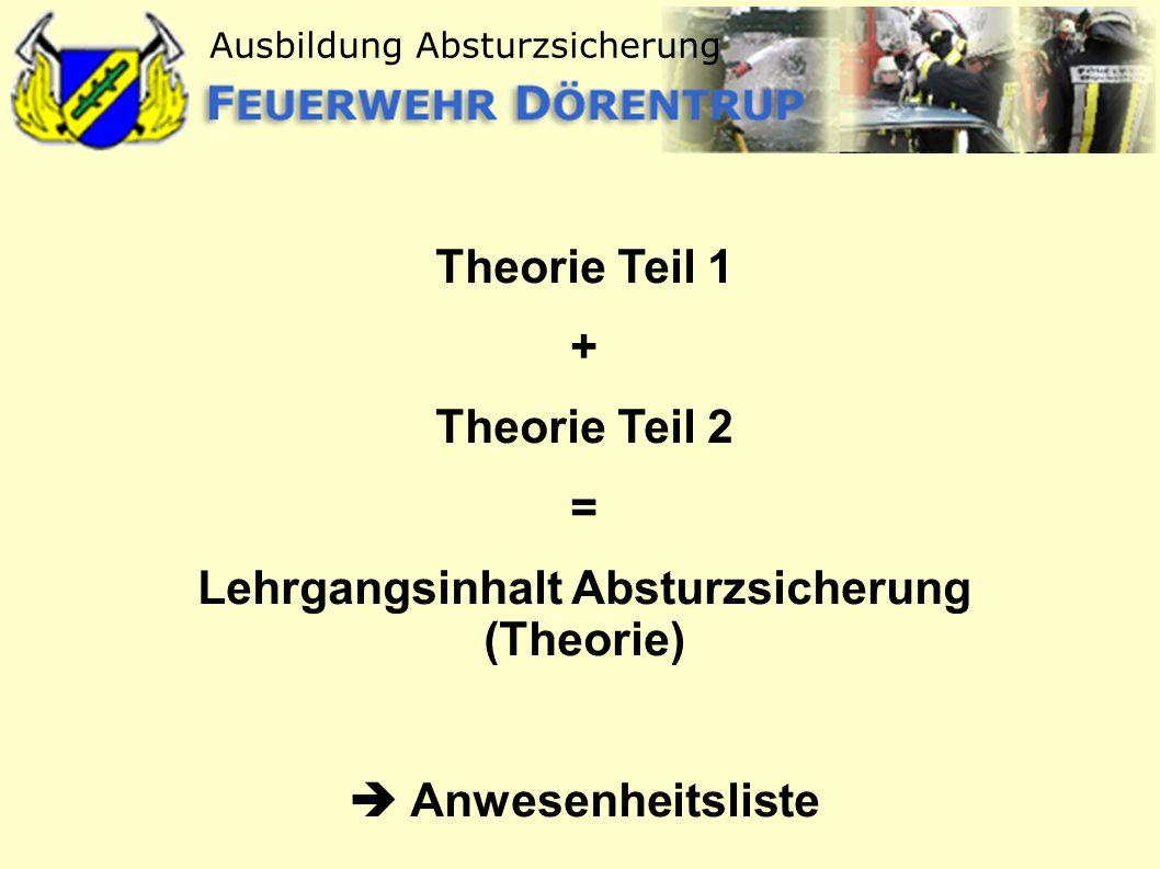 Ausbildung Absturzsicherung Theorie Teil 1 + Theorie Teil 2 = Lehrgangsinhalt Absturzsicherung (Theorie) Anwesenheitsliste