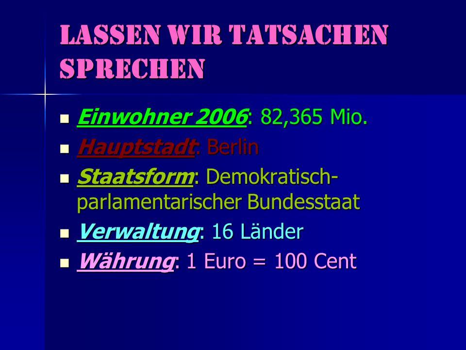 lassen wir Tatsachen sprechen Einwohner 2006: 82,365 Mio. Einwohner 2006: 82,365 Mio. Hauptstadt: Berlin Hauptstadt: Berlin Staatsform: Demokratisch-