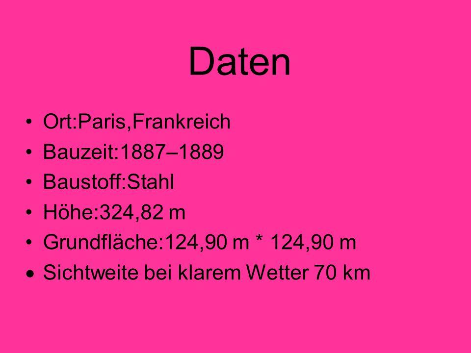 Daten Ort:Paris,Frankreich Bauzeit:1887–1889 Baustoff:Stahl Höhe:324,82 m Grundfläche:124,90 m * 124,90 m Sichtweite bei klarem Wetter 70 km