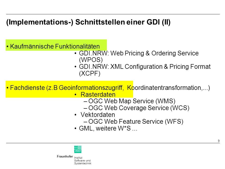 Institut Software- und Systemtechnik Fraunhofer ISST 8 (Implementations-) Schnittstellen einer GDI (I) Suchen & Finden GI Metadaten: ISO 19115 Service Metadaten: ISO 19119 Katalog Dienst: OGC CS-W Zugriffschecks GDI.NRW: Web Authentication & Authorization Service (WAAS)
