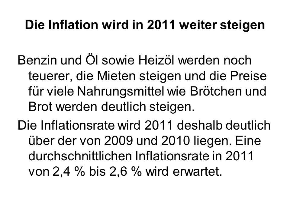 Die Inflation wird in 2011 weiter steigen Benzin und Öl sowie Heizöl werden noch teuerer, die Mieten steigen und die Preise für viele Nahrungsmittel w