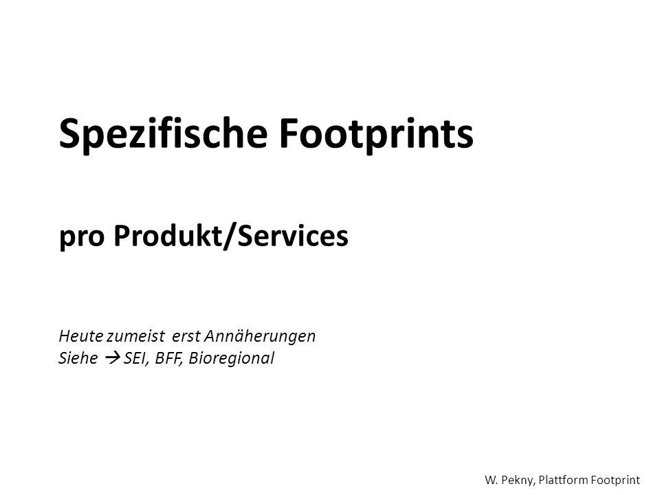 Spezifische Footprints pro Produkt/Services Heute zumeist erst Annäherungen Siehe SEI, BFF, Bioregional W. Pekny, Plattform Footprint