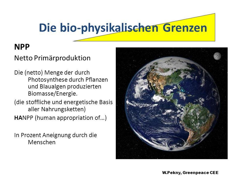 HANPP: (Human Appropriation of Net Primary Production Südamerika: Afrika: Nord Amerika: Ostasien: Westeuropa: Südasien: (Nature Vol.429, f 872) W.Pekny, Greenpeace CEE 6,1% 12,4% 23,7% 63,2% 72,2% 80,4% Die bio-physikalischen Grenzen