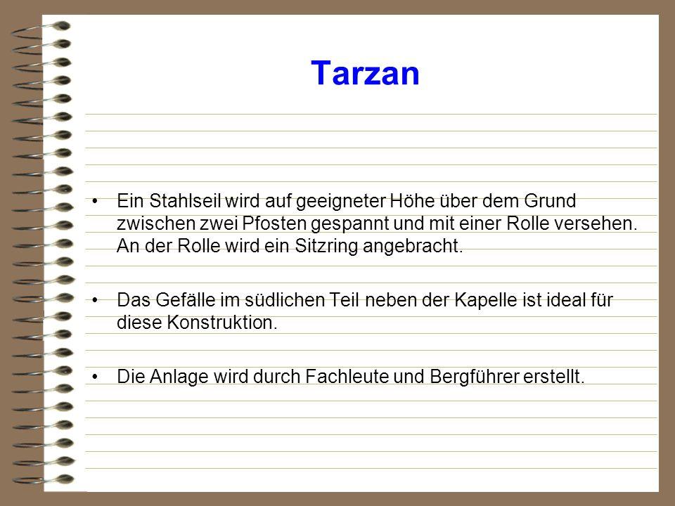 Tarzan Ein Stahlseil wird auf geeigneter Höhe über dem Grund zwischen zwei Pfosten gespannt und mit einer Rolle versehen. An der Rolle wird ein Sitzri