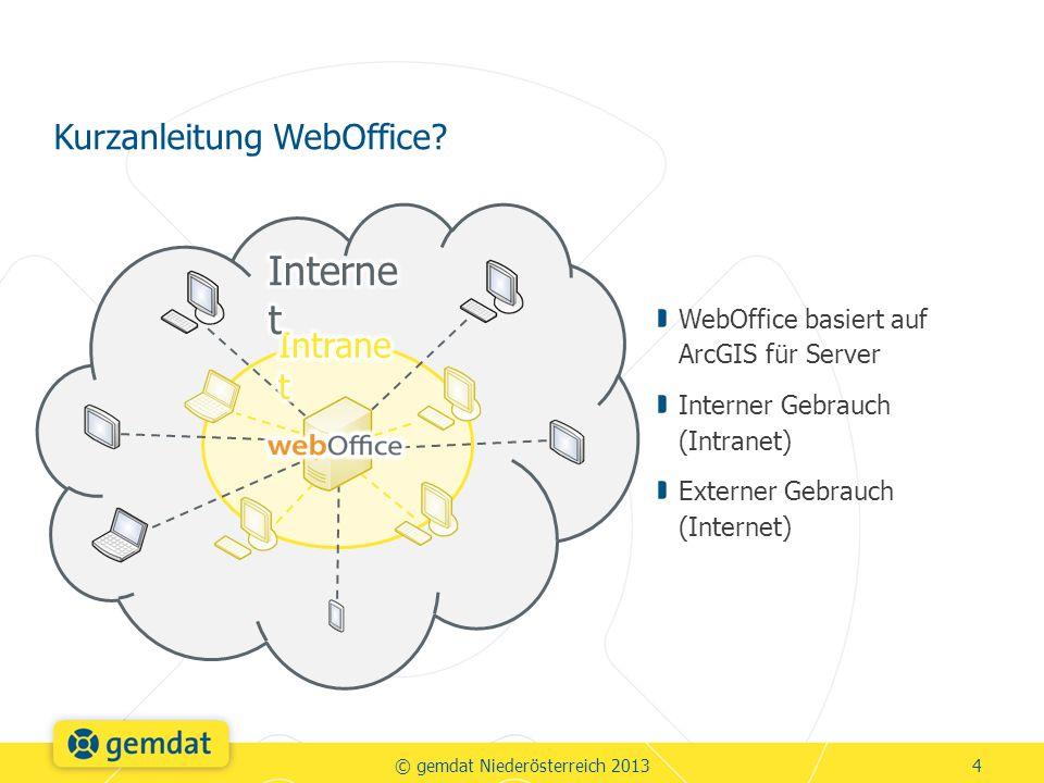WebOffice basiert auf ArcGIS für Server Interner Gebrauch (Intranet) Externer Gebrauch (Internet) Kurzanleitung WebOffice.