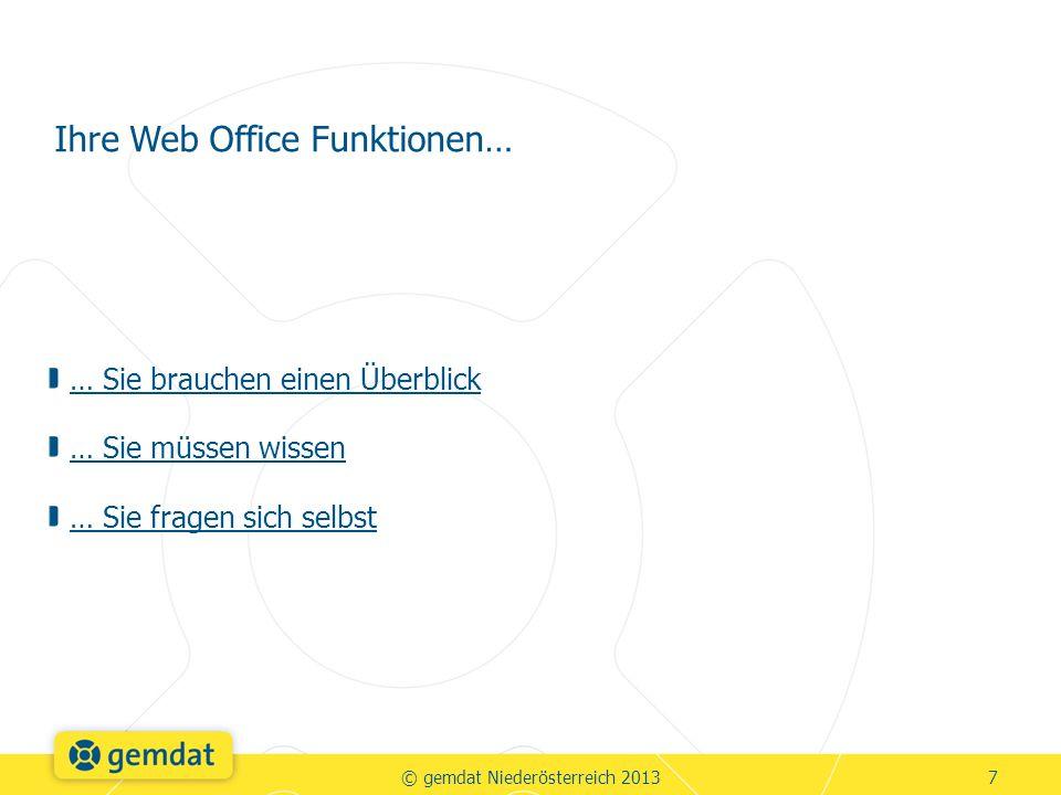 … Sie brauchen einen Überblick … Sie müssen wissen … Sie fragen sich selbst Ihre Web Office Funktionen… © gemdat Niederösterreich 20137