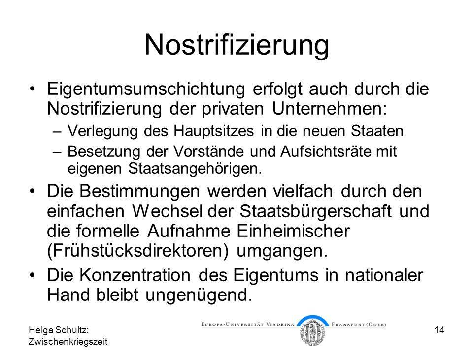 Helga Schultz: Zwischenkriegszeit 14 Nostrifizierung Eigentumsumschichtung erfolgt auch durch die Nostrifizierung der privaten Unternehmen: –Verlegung