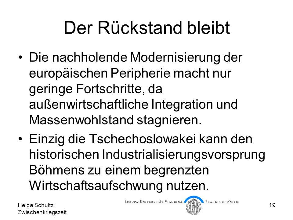Helga Schultz: Zwischenkriegszeit 19 Der Rückstand bleibt Die nachholende Modernisierung der europäischen Peripherie macht nur geringe Fortschritte, d
