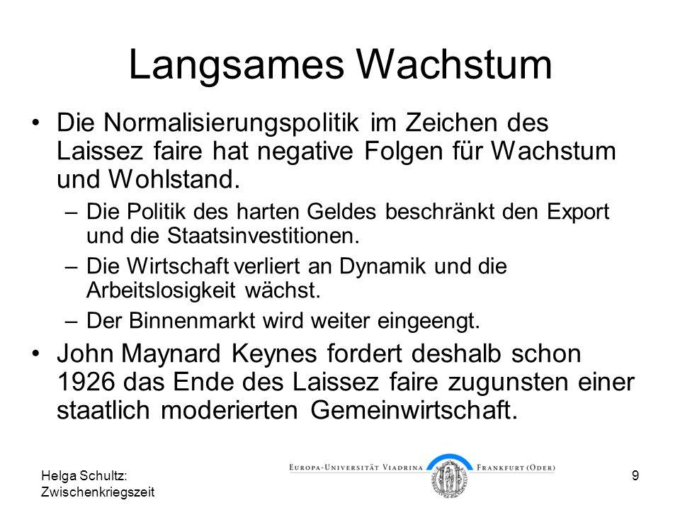 Helga Schultz: Zwischenkriegszeit 9 Langsames Wachstum Die Normalisierungspolitik im Zeichen des Laissez faire hat negative Folgen für Wachstum und Wo