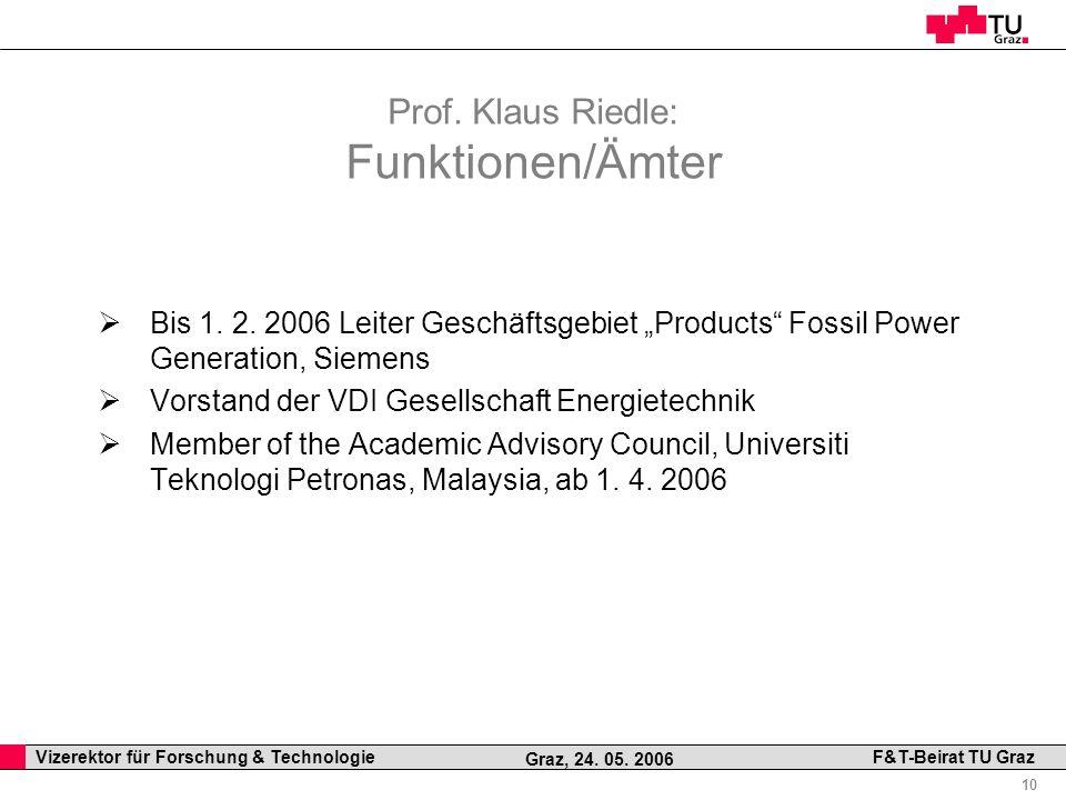 Professor Horst Cerjak, 19.12.2005 10 Vizerektor für Forschung & Technologie F&T-Beirat TU Graz Graz, 24. 05. 2006 Prof. Klaus Riedle: Funktionen/Ämte
