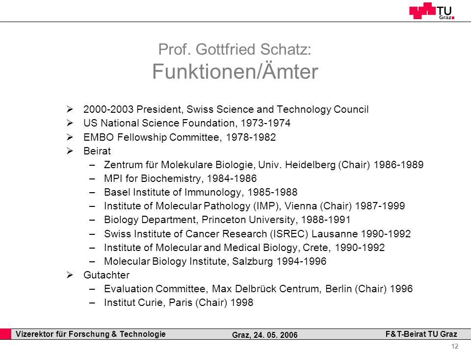 Professor Horst Cerjak, 19.12.2005 12 Vizerektor für Forschung & Technologie F&T-Beirat TU Graz Graz, 24. 05. 2006 Prof. Gottfried Schatz: Funktionen/
