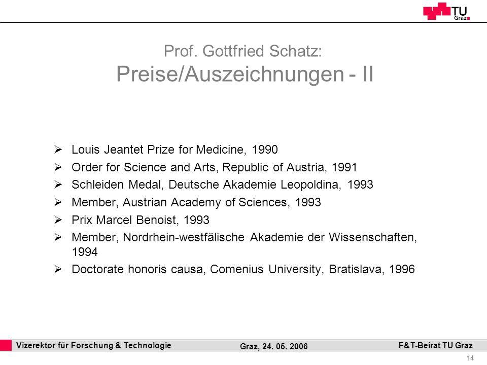 Professor Horst Cerjak, 19.12.2005 14 Vizerektor für Forschung & Technologie F&T-Beirat TU Graz Graz, 24. 05. 2006 Prof. Gottfried Schatz: Preise/Ausz
