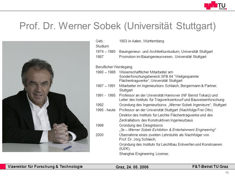 Professor Horst Cerjak, 19.12.2005 19 Vizerektor für Forschung & Technologie F&T-Beirat TU Graz Graz, 24. 05. 2006 Prof. Dr. Werner Sobek (Universität