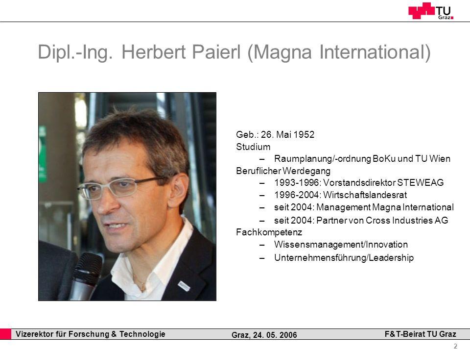 Professor Horst Cerjak, 19.12.2005 2 Vizerektor für Forschung & Technologie F&T-Beirat TU Graz Graz, 24. 05. 2006 Dipl.-Ing. Herbert Paierl (Magna Int